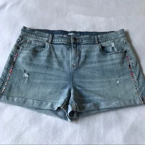 Old Navy Boyfriend Embroidered & Distressed Shorts
